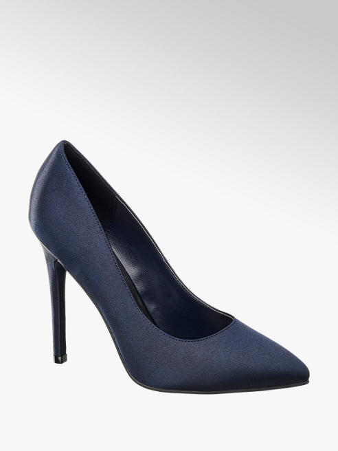 Catwalk Navy Pointed Toe High Heel Court Shoe