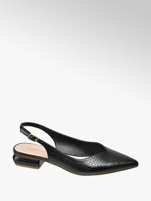 Catwalk Black Slingback Pointed Loafers