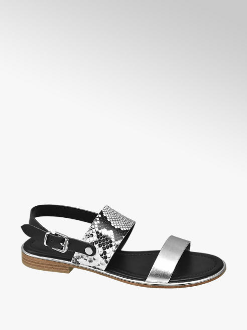 Silver Snake Metal Detail Sandals by Catwalk