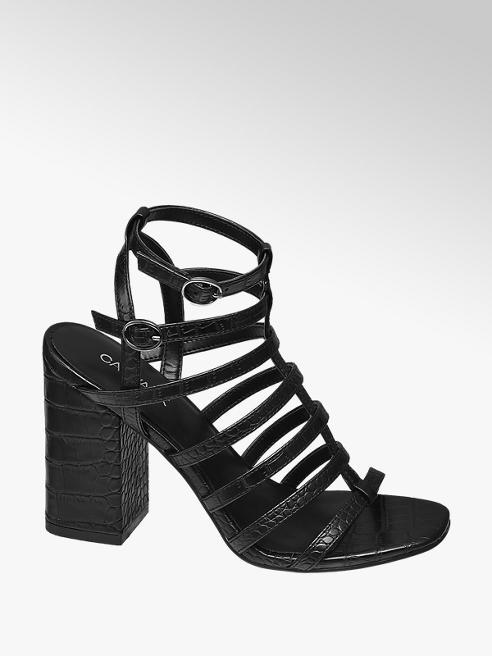 Catwalk Black Strappy Block Heel Sandals