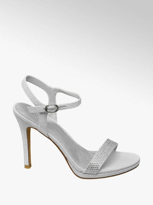 Catwalk Silver Strappy Gem High Heels