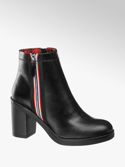 Catwalk Black Stripe Zip Heeled Ankle Boots