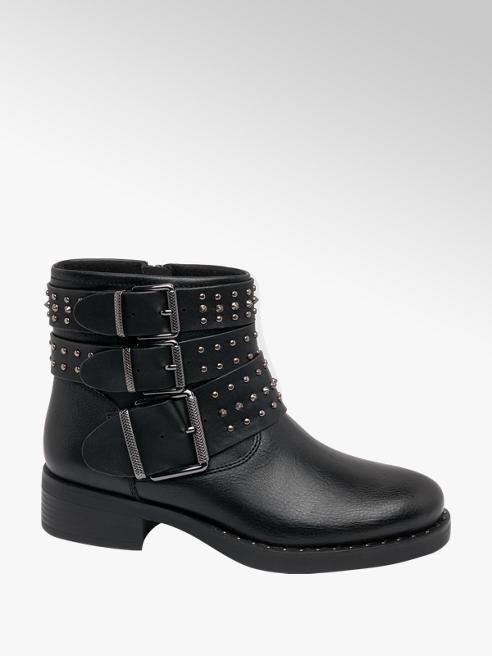 Catwalk Black Stud Detail Ankle Boot