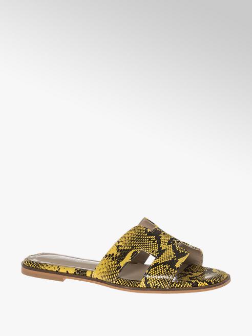 Catwalk Leder Pantoletten in Gelb mit Animal-Print