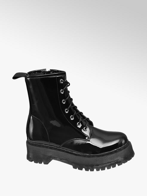 Catwalk Black Patent Chunky Ankle Boots