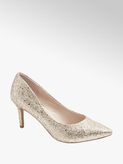 Catwalk Pumps in Gold mit Glitzer-Optik
