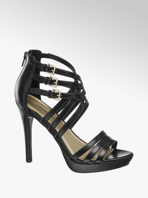 Catwalk Black Stiletto Strappy High Heels
