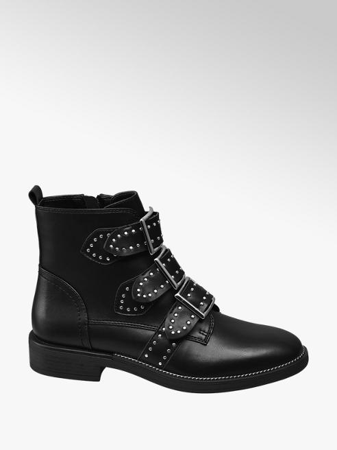 Catwalk Black Studded Buckle Ankle Boots