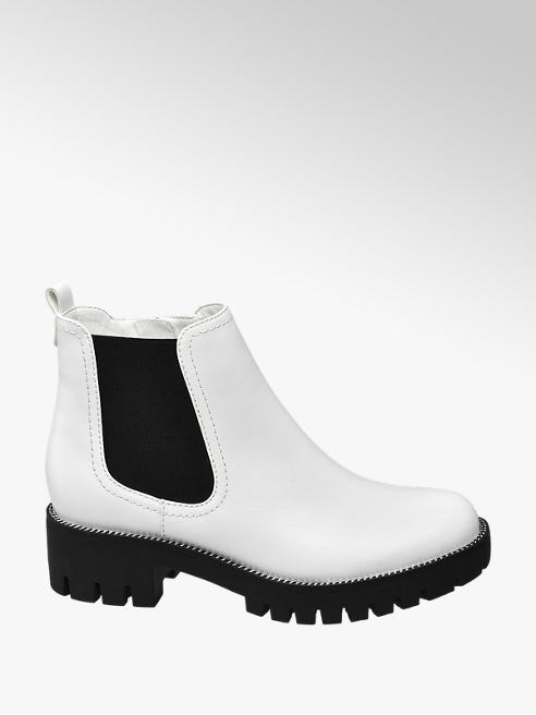 Graceland Chelsea boot bianca con suola nera