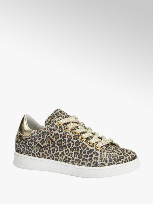 Cupcake Couture Bruine leren sneaker leopard