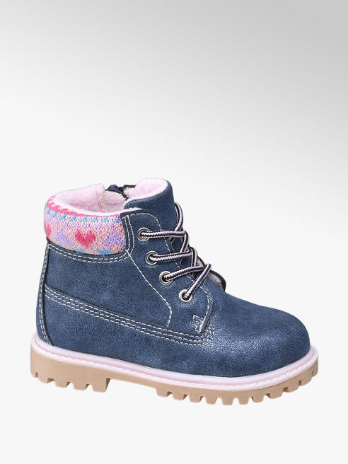 Cupcake Couture Toddler Girl Navy Knit Collar Lace-up Ankle Boots