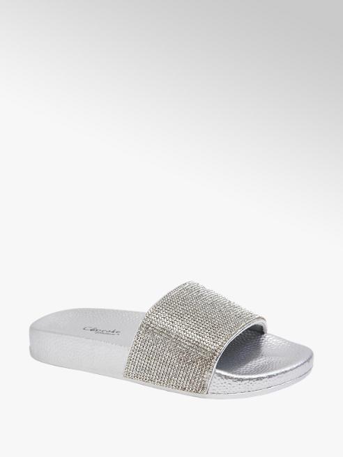 Cupcake Couture Pantoletten in Silber mit Strass-Details