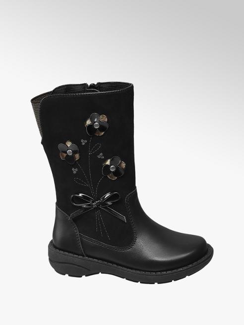 Cupcake Couture Toddler Girl Black Flower Detail High Leg Boots