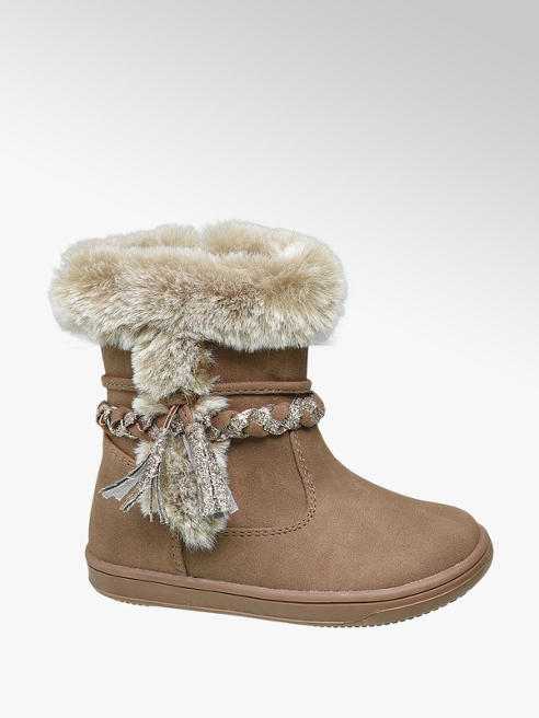 Cupcake Couture Toddler Girl Beige Faux Fur Trim Boots