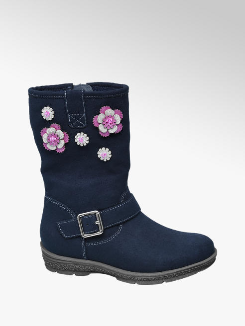 Cupcake Couture Toddler Girl Navy Flower Embellished Long Leg Boots