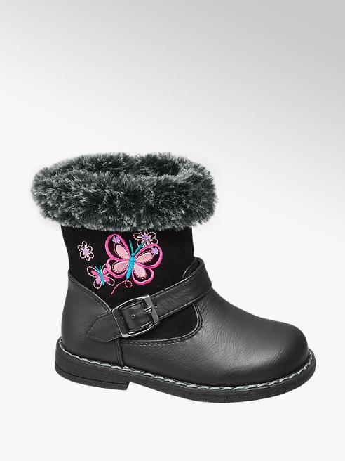Cupcake Couture Toddler Girl Black Fur Trim Boots