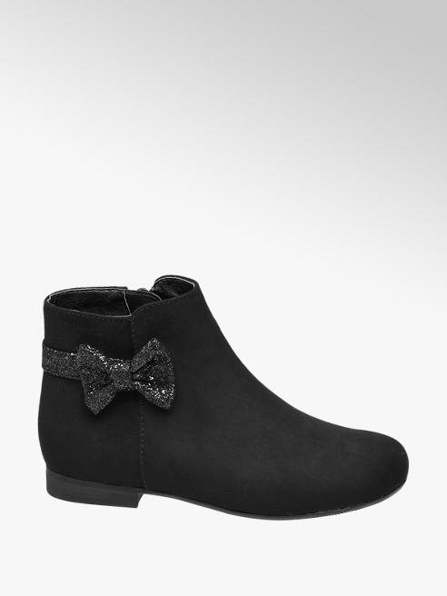 Cupcake Couture Toddler Girl Black Glitter Bow Ankle Boots
