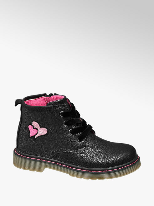 Cupcake Couture Toddler Girl Black Heart Detail Lace-up Ankle Boots
