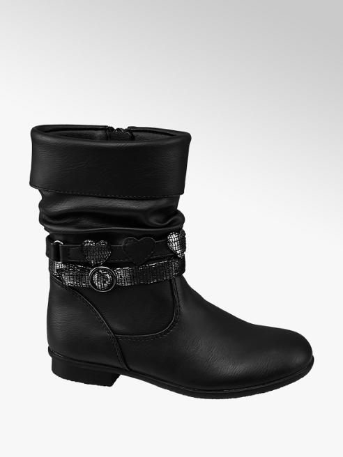 Cupcake Couture Toddler Girl Black Heart Detail Strap Mid Boots