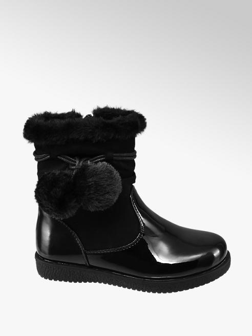 Cupcake Couture Toddler Girl Black Patent Ankle Boots with Faux Fur Pom-Poms