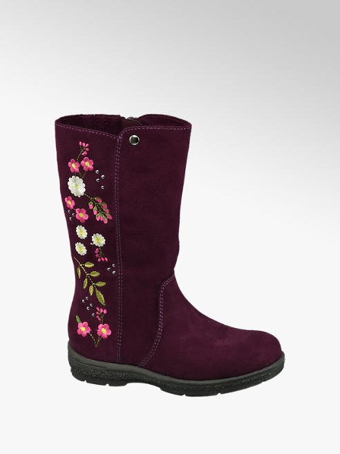 Cupcake Couture Toddler Girl Burgundy Embroidered Long Leg Boots