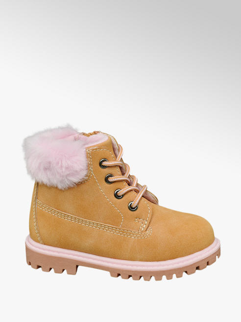 Cupcake Couture Toddler Girl Camel Faux Fur Collar Lace-up Ankle Boots