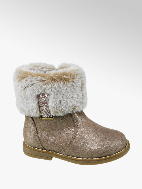 Cupcake Couture Toddler Girl Gold Faux Fur Trim Ankle Boots