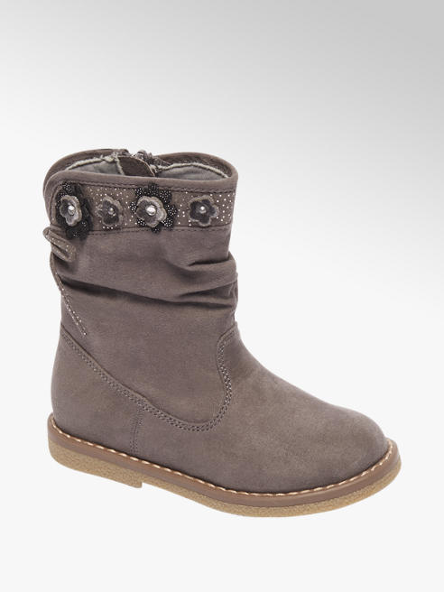 Cupcake Couture Toddler Girl Grey Flower Embellished Ankle Boots