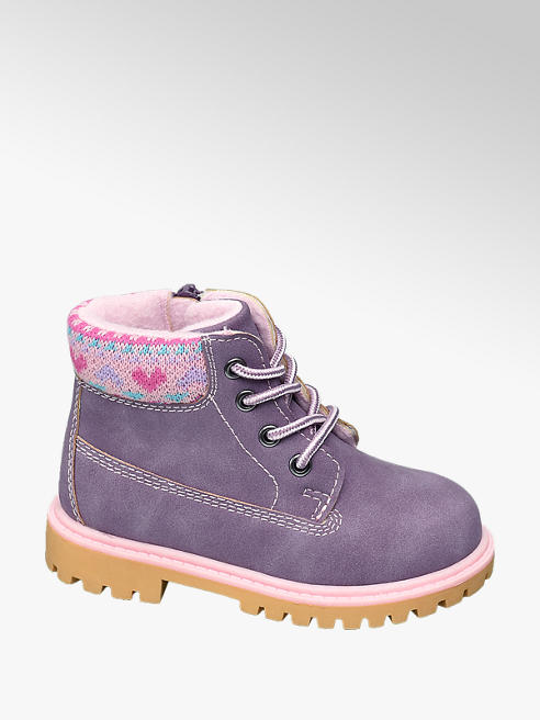 Cupcake Couture Toddler Girls Purple Lace Up Boots with Knitted Collar