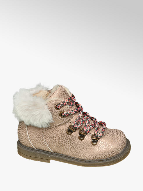 Cupcake Couture Toddler Girls Nude Metallic Fur Trim Lace Up Boots