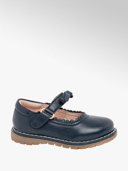 Cupcake Couture Toddler Girl Navy Leather Bow Bar Shoes