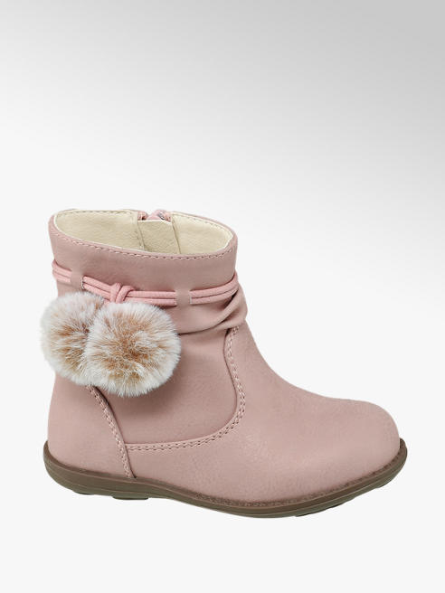 Cupcake Couture Toddler Girl Pink Faux Fur Pom-Pom Ankle Boots