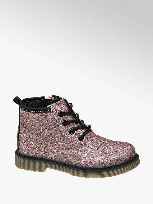 Cupcake Couture Toddler Girl Pink Glitter Lace-up Ankle Boots
