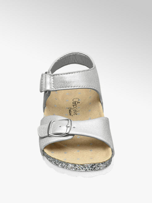 fdee83281b9 Cupcake Couture Toddler Girl Silver Glitter Footbed Sandals