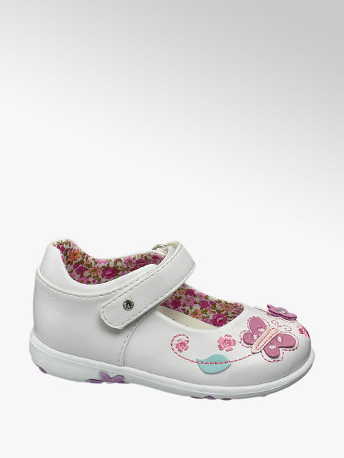 Cupcake Couture Toddler Girl White Butterfly Trim Bar Shoes
