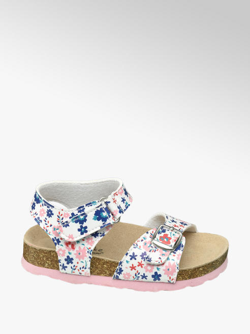 Cupcake Couture Toddler Girl White Multi Floral Footbed Sandals