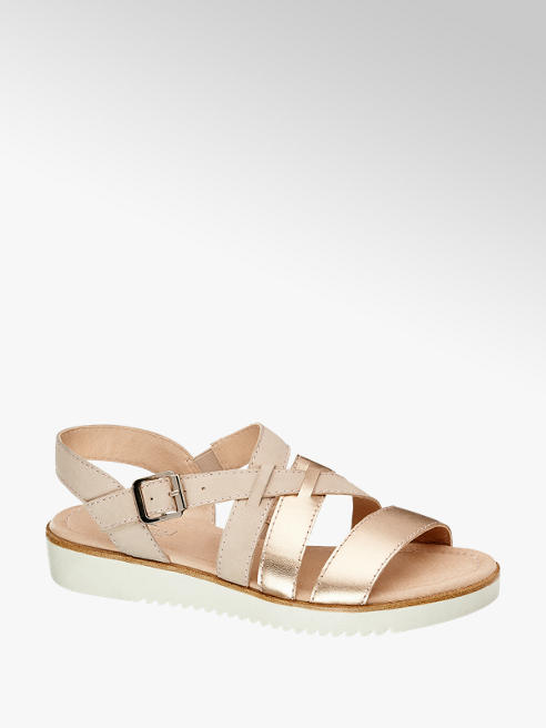 5th Avenue Leder Sandalen im Metallic-Design