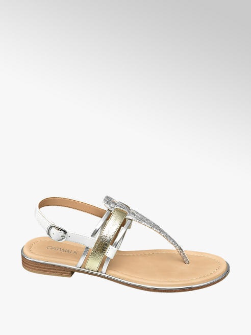 Catwalk Sandalen in Metallic-Optik