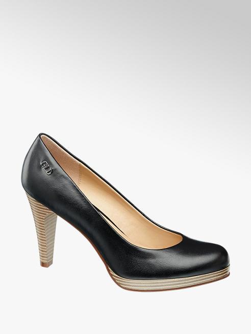 Graceland Décolleté nera con tacco color cuoio