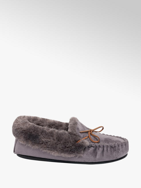 Ladies Faux Fur Moccasin Slippers