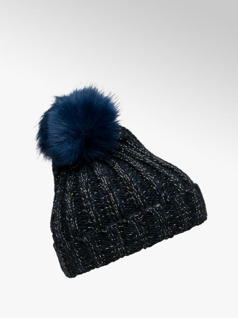 Ladies Blue Glitter Bobble Hat