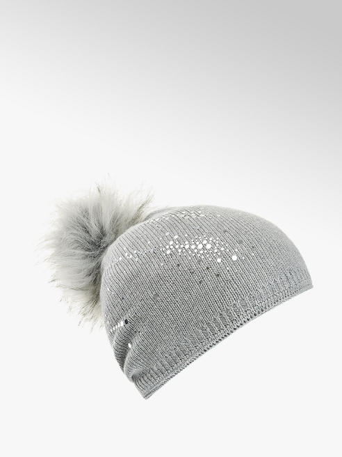 Ladies Knitted Silver Deco Faux Fur Bobble Hat