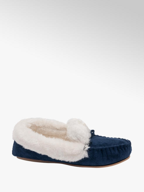 Ladies Plush Trim Moccasin Slippers