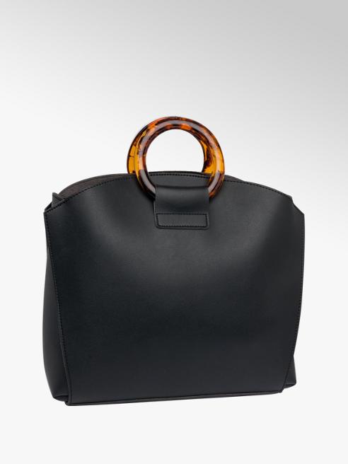 Black Tort Handle Tote Bag