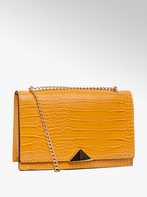 Mustard Yellow Croc Cross Body Bag