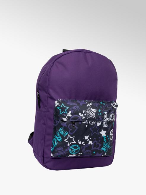 Purple Graffiti Print Backpack