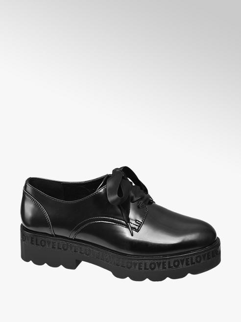 Catwalk Derby platform nera con lacci in raso