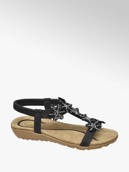 Easy Street Black Floral Studded Sandals