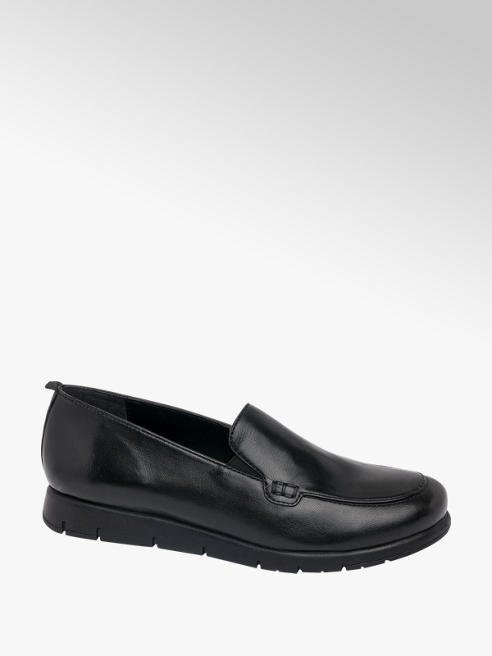 Easy Street Black Leather Elasticated Loafers