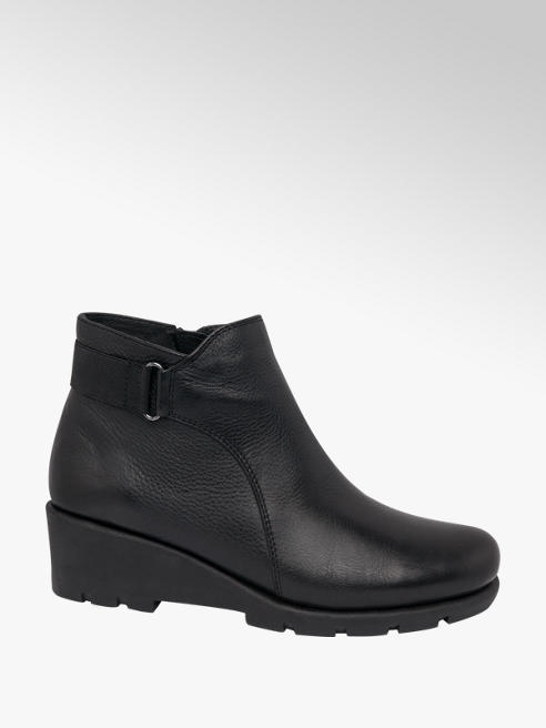 Easy Street Black Wedge Heel Comfort Ankle Boots